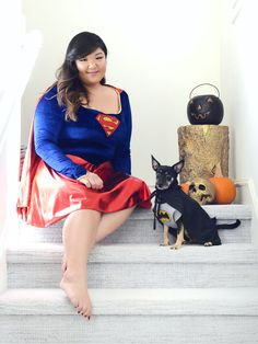 Dressing up for Halloween is always more fun when the whole family is involved (including the pets!) Scored this Batdog vs. Supergirl look from JCPenney while doing some last minute shopping and now I can't wait for Halloween! Love that JCPenney carries costumes for everyone! #ad
