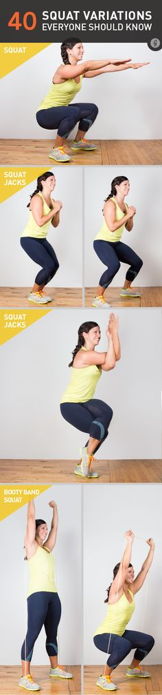 All of these will work your entire posterior chain starting with your feet and going up through your calves, hamstrings, glutes, and back. Get ready to feel the burn!  https://greatist.com/move/squat-variations-you-need-to-know