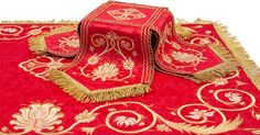 Embroidered Chalice Covers & Veil (Red)    Learn more: https://catalog.obitel-minsk.com/veil-covers-sh-10-50-2.html     #CatalogOfGoodDeeds #OrthodoxVestments