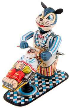 """livingnowisliving:    CW Wells • ANIMAL BARBER SHOP"""" BOXED WIND-UP"""