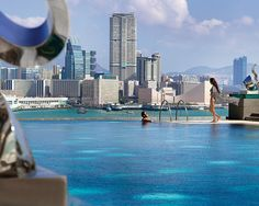 View of Victoria Harbour from Four Seasons Hotel Hong Kong pool