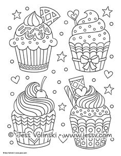 Cupcakes, sorvetes, bolos e doces (Cupcakes, ice creams, cakes and sweets) Cupcake Coloring Pages, Coloring Book Art, Doodle Coloring, Colouring Pages, Adult Coloring Pages, Coloring Sheets, Tangle Doodle, Doodles Zentangles, Notebook Doodles