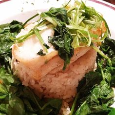 Chilean Sea Bass in a bed of rice & spinach. #Gigasavvy @jtschmids