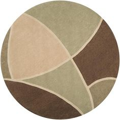 This round, hand-tufted rug is finely crafted of poly-acrylic materials. This brown rug features a tan, beige, and green abstract pattern.