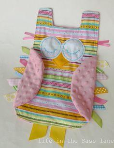 OWL Ribbon Tag Flannel Baby Blanket