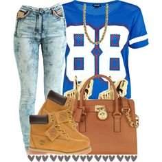 A fashion look from September 2014 featuring River Island t-shirts, Jena.Theo jeans and Timberland boots. Browse and shop related looks.
