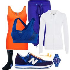 Orange & blue workout outfit by carley-elswick, via Polyvore