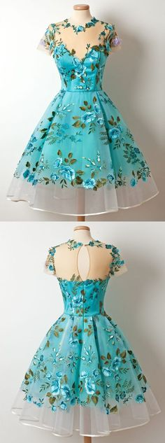 A-Line Jewel Tea-Length Short Sleeves Blue Organza Homecoming Dress with Embroidery Appliques