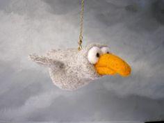 Handmade cartoon Gray Seagull needle felting soft sculpture toy mobile ooak #CuterLand #AllOccasion