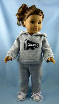 American Girl Doll Clothes - Sweatsuit in Light Gray Heather - Cheer Megaphone Ropa American Girl, Custom American Girl Dolls, American Girl Doll Pictures, American Girl Dress, American Girl Crafts, American Doll Clothes, Ag Doll Clothes, American Dolls, Poupées Our Generation