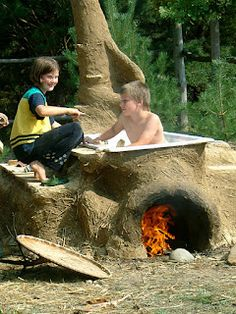 I think I finally found a hot tub that Eli could agree with!! Cob Hot Tub, Earth Hands and Houses