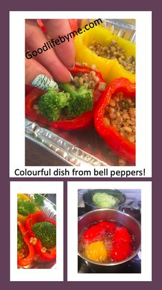 Amasing colours on your table. Makes you happy just to look at them. Have a taste! If you donät feel like cooking yourself, let your kids do it. This is easy enough for any tiny cook. #bellpeppers #recipebellpeppers #healthyrecipe #easycooking #fastcooking #veganfood #vegan #veganrecipe #vegankitchen #paprika #paprikaresepti #vegaaninenkeittiö Ate Too Much, Tasty, Yummy Food, Vegan Kitchen, Easy Cooking, Vegan Recipes, Veggies, Colours, Stuffed Peppers