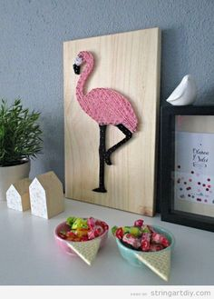 How to make a Flamingo String Art step by step | Free patterns and templates to make your own String Art