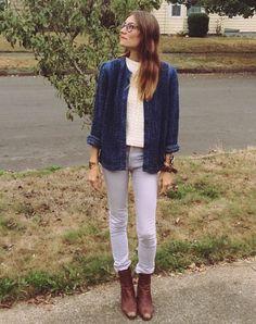 "Gretchen Jones on Instagram: ""10/9/14: Lavender, Cream & Denim #ootd #fashion #streetstyle #neutralterritory #withinwithout (@cheapmonday jeans, hand knit sweater, #vintage smocked jean jacket & #gjnyc bracelets!)"""
