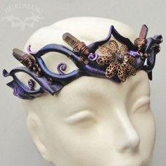 Leather circlet with purple quartz crystals.