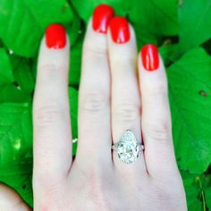Craig Evan Small antique pear shaped engagement ring