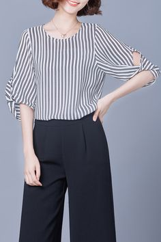 Lushijiao Stripe Striped Chiffon Blouse   Blouses at DEZZAL