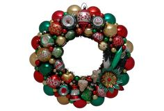 Green Red Gold Holiday Wreath