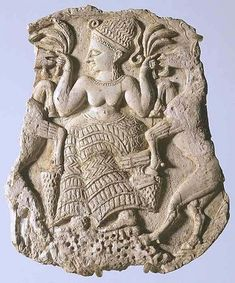 This 13th-century ivory goddess from Minet-el Beida in northwest Syria is heavily influenced by Cretan art: her coiffure with curling tresses, flounced skirts, and the sheafs in both hands, as at Mycenae (above). The goddess even stands on a mountain as in Cretan seals. But the rampant goats are a west Asian theme that was adopted into Aegean art by way of Cyprus. The great Ugaritic goddess venerated in these parts was Athirat (Asherah in Hebrew), qaniyatu elima: progenitrix of the gods.