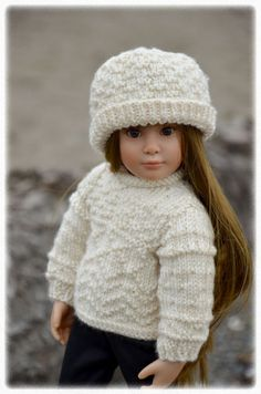 Whidbey is a Gansey inspired long sleeved textured stitch sweater and hat knitting pattern for slim 18 dolls. $2.99, via Etsy.