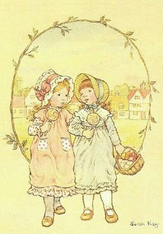 a postcard by Sarah Kay, published by Paperitaide, from the year 1984 Holly Hobbie, Sara Kay, Cross Stitch For Kids, Sweet Pic, Decoupage Vintage, Australian Artists, Cute Images, Cute Illustration, Kids Cards