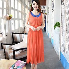 Women's Casual/Party/Work Micro-elastic Sleeveless Midi Dress (Chiffon)