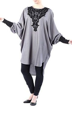 Rayon Tunic with lace embroidery on chestDark Grey2XL *** Be sure to check out this awesome product.