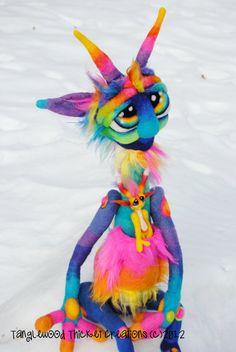 OOAK RainbowRoo Goblin Needle Felted Soft by TangleWoodThicket, $325.00