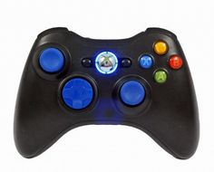 Xbox 360 Modded Rapid Fire Controller  Quick Scope  Drop Shot  Quick Aim  Auto Aim  Mimic  Burst  for COD Ghosts Black OPS 2  Blue Leds  Blue Thumbsticks by Premium Controllerz ** Want additional info? Click on the image.
