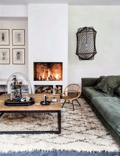 A traditional Beni Ourain rug adds texture to a minimal interior from Milk Magazine. Found on Apartment Therapy.