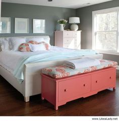 Pink, teal and gray bedroom