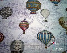 Retro Hot Air Balloons World Travel Map Linen by TheCraftSociety