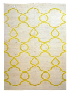 "5'4"" x 7'6"" Flat weave rug; 100% organic wool; Pera in lively yellow on undyed creamy natural field. $1125. #DH016"