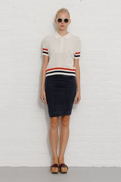 How To Wear Polo Shirts Without Looking Like A Caddy #refinery29  http://www.refinery29.com/how-to-wear-polo-shirts-without-looking-like-a-caddy#slide5  Borrowed From The Boys—A boxy, loose-fit polo can tone down a sultry pencil skirt. Keep it untucked for a look that epitomizes thrown-together ease.Band of Outsiders spring '11, images via Style.com.