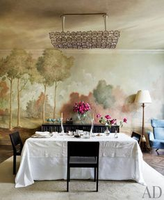 It's Fine Dining Month On DPAGES! Dining room with wall mural. Photo by Björn Wallander.