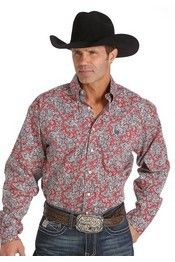 Cinch® Men's Long Sleeve Red/Black Paisley Button Shirt