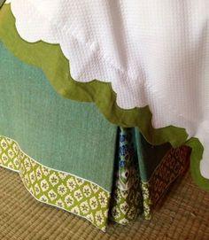Tilton Fenwick Bedroom Bedskirt - details on comforter! Euro Shams, Pillow Shams, Spa Aqua, Bed Drapes, Curtains, Custom Drapes, Custom Bedding, Dust Ruffle, Fabric Wallpaper