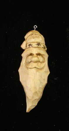With Christmas and Christmas craft shows fast approaching some whittlers and carvers like to carve Santa ornaments for these times. Christmas Craft Show, Christmas Wood, Simple Christmas, Christmas Time, Santa Ornaments, Christmas Tree Ornaments, Whittling Projects, Wood Projects, Carving Board