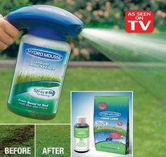 Hydro Mousse Liquid Lawn Spray on Grass Seed - People have found Hydro seeding to be more effective than just hand seeding because it allows the seeds to implant themselves firmly into the ground, so they should not wash away.  This also protects them from being harmed. A major advantage to using this technique is that the grass can begin to sprout anywhere from four to six days after the seeds are planted. #grassseed #asseenontv #sprayongrassseed #liquidgrassseed #seed #sod #lawncare