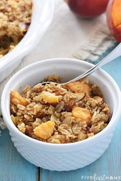 Peach Baked Oatmeal ~ this wholesome and delicious recipe is bursting with healthy, real food ingredients for a make-ahead breakfast that will fuel you through the morning! | FiveHeartHome.com