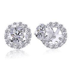Other Wedding Jewelry 164311: 3 4Ct Real Diamond Studs And Earring Halo Jackets 14K White Gold -> BUY IT NOW ONLY: $799.98 on eBay!