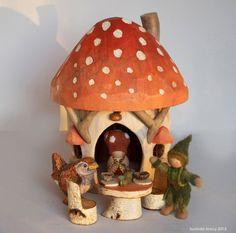 Large Autumn Mushroom Gnome Home. $82.00, via Etsy.