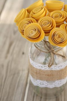 Large Paper Flower Bouquet of 12 in Yellow. $28.00, via Etsy.