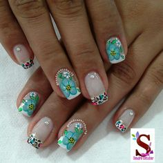 Flores Cute Nail Art, Cute Nails, French Tip Nails, Make Me Up, Manicure And Pedicure, Nail Designs, Lily, Polish, Color