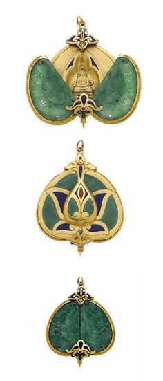 A carved jadeite jade, enamel and ruby pendant -  hinged opening to reveal a seated Buddah; mounted in 18k gold.