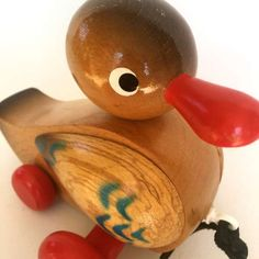 Vintage Pull-Along Wooden Duck