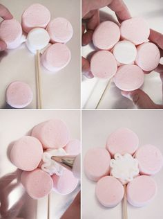 Easy, step-by-step tutorial with pictures on how to make this beautiful, eye-catching Marshmallow Flower Bouquet. Great for birthdays, parties, celebrations. Flores Marshmallow, Marshmallow Flowers, Marshmallow Pops, Cake Pop Bouquet, Candy Bouquet, Marshmallows, Bar A Bonbon, Sweet Trees, Candy Table