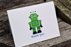 Kids Thank You Note Cards Robot Themed by itsybitsypaper on Etsy, $18.00