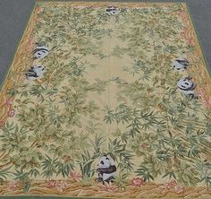 9'x12' Handmade Handwoven Panda and Bamboo Wool Needlepoint Area Rug~Brand New