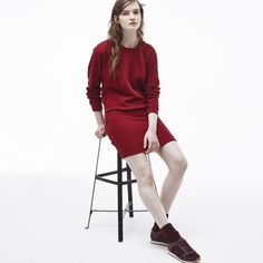 Lacoste Crew neck sweatshirt dress in solid fleece ($175) ❤ liked on Polyvore featuring dresses, beaujolais, fleece dress, lacoste, fleece sweatshirt dress, white dress and checkered dress